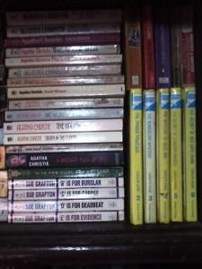 bookshelf full of mystery and crime fiction books
