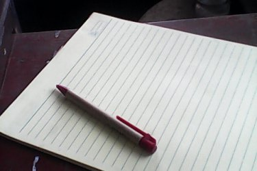 yellow pad and pen